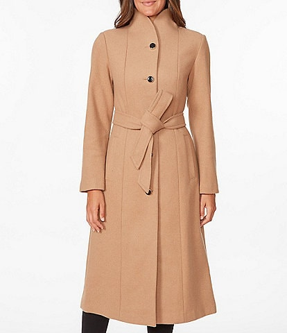 kate spade new york Belted Single Breasted Wool Blend Twill Coat