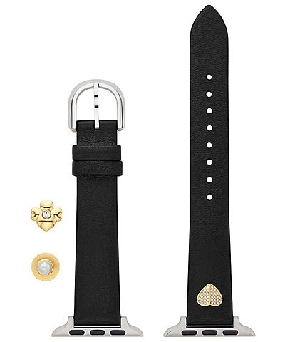 kate spade new york Black Leather 38/40mm and Band Charm Set for Apple Watch®