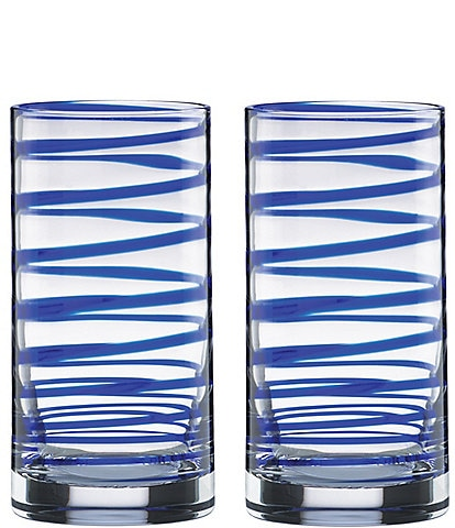 kate spade new york Charlotte Street Blue Spiral Highball Glass Pair