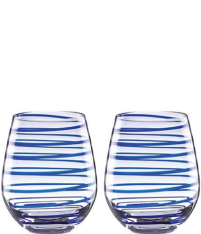 kate spade new york Charlotte Street Spiral Stemless Wine Glass Pair