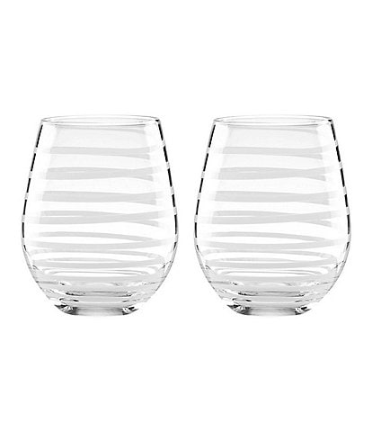 kate spade new york Charlotte Street Spiral Stemless Wine Glass Pair