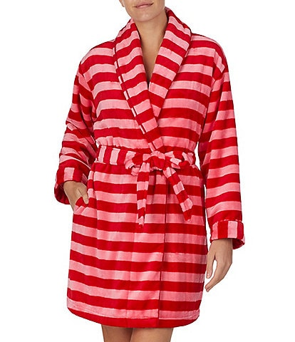 Kate Spade New York Dot Print Fleece Short Wrap Robe