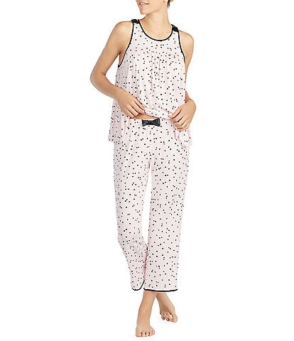 kate spade new york Dot Print Jersey Cropped Pajamas