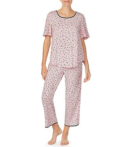 kate spade new york Dot Print Jersey Knit Cropped Pajama Set