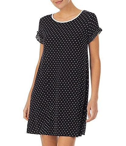 kate spade new york Dot Print Jersey Knit Round Neck Short Sleeve Sleepshirt