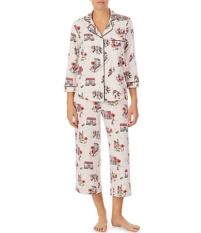 kate spade new york Fall in the City Printed Jersey Cropped Pajama Set