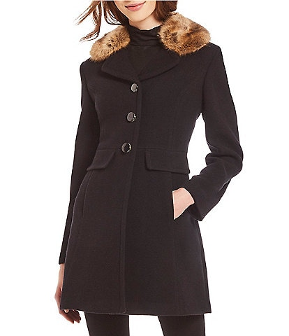 kate spade new york Faux Fur Collar Fit and Flare Jacket