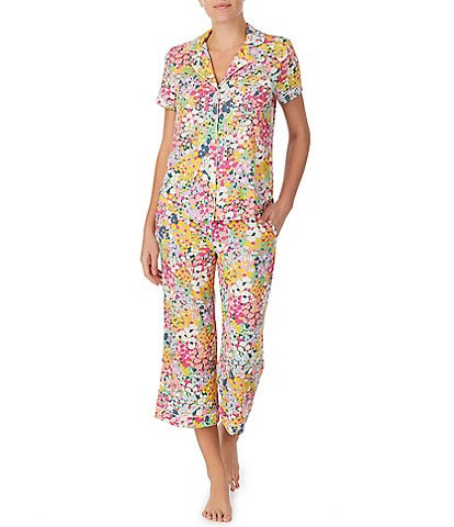kate spade new york Floral Dot Print Jersey Cropped Pajama Set