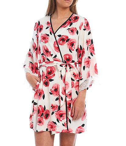 kate spade new york Floral Print Charmeuse Short Wrap Robe