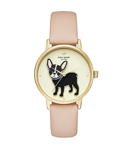kate spade new york Grand Metro French Bulldog Vachetta Leather-Strap Watch