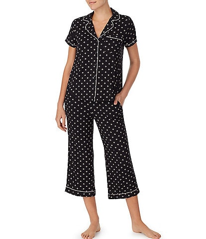 kate spade new york Heart Clover Print Jersey Knit Cropped Pajama Set