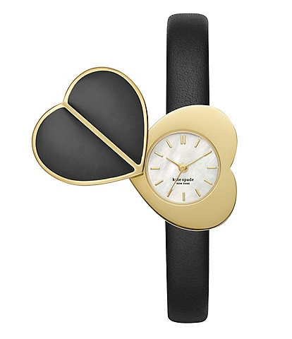 kate spade new york Heart Twistlock Black Leather Watch