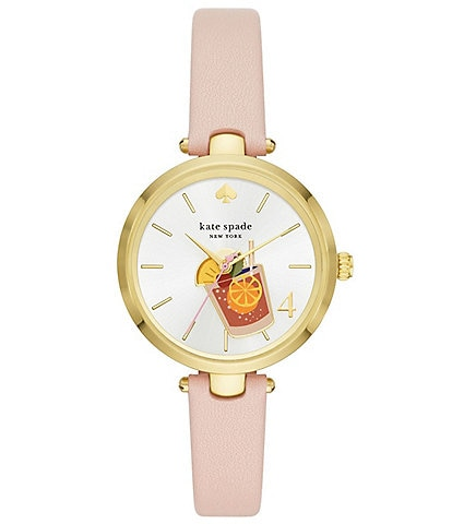 kate spade new york Holland Three-Hand Blush Leather Cocktail Watch