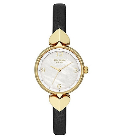 kate spade new york Hollis Heart Three-Hand Matte Black Leather Watch