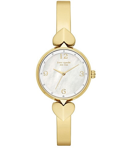 kate spade new york Hollis Three-Hand Gold-Tone Stainless Steel Bracelet Watch