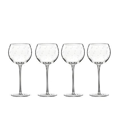 kate spade new york Larabee Road 4-Piece Dotted Crystal Balloon Wine Glass Set
