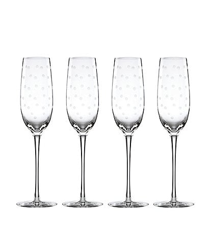 kate spade new york Larabee Road 4-Piece Dotted Crystal Flute Set