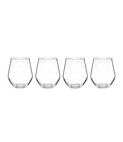 kate spade new york Larabee Road 4-Piece Dotted Crystal Stemless White Wine Glass Set