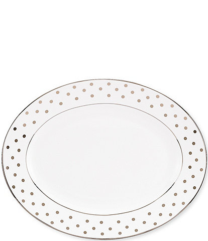 kate spade new york Larabee Road Dotted Platinum Bone China 13#double; Oval Platter
