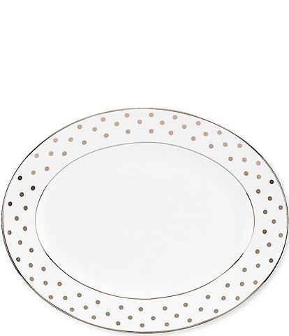 kate spade new york Larabee Road Dotted Platinum Bone China 16#double; Oval Platter