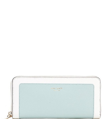 kate spade new york Margaux Refined Grain Colorblock Leather Slim Zip Around Continental Wallet