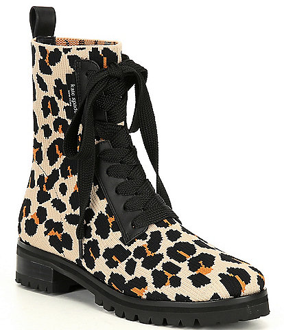kate spade new york Merigue Leopard Print Knit Lace Up Booties