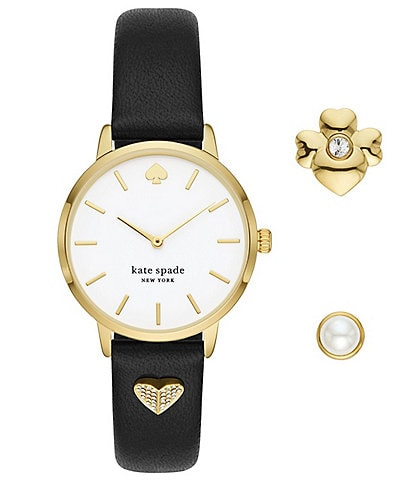 kate spade new york Metro Black Leather Watch and Charm Set