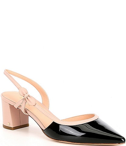 kate spade new york Midge Bow Leather Block Heel Sling Pumps