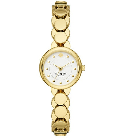 kate spade new york Monroe Three-Hand Gold-Tone Stainless Steel Bracelet Watch