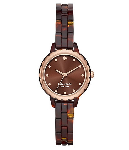kate spade new york Morningside Mini Three-Hand Tortoise Acetate Watch