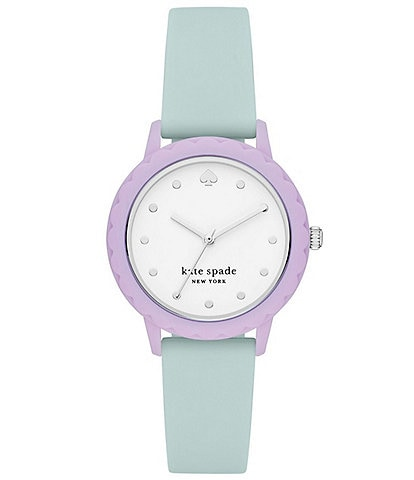 kate spade new york Morningside Three-Hand Mint Silicone Watch