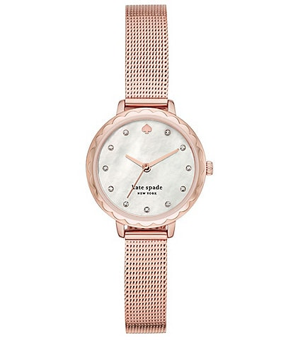 kate spade new york Morningside Three-Hand Rose Gold-Tone Stainless Steel Mesh Watch