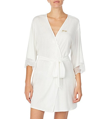 kate spade new york #double;Mrs#double; Jersey Knit Short Wrap Robe