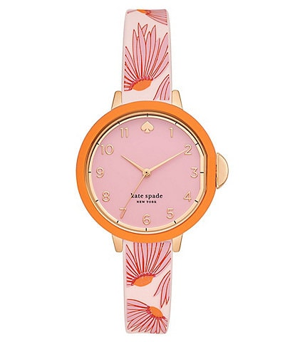 kate spade new york park row three-hand matte pink floral-print silicone watch
