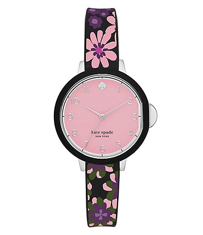 kate spade new york park row three-hand multicolor floral-print silicone watch