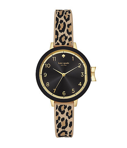 kate spade new york Park Three-Hand Leopard Print Silicone Watch