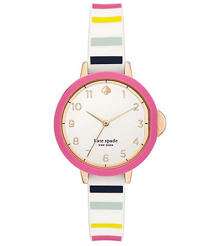 kate spade new york Park Three-Hand Multicolor-Striped Silicone Watch