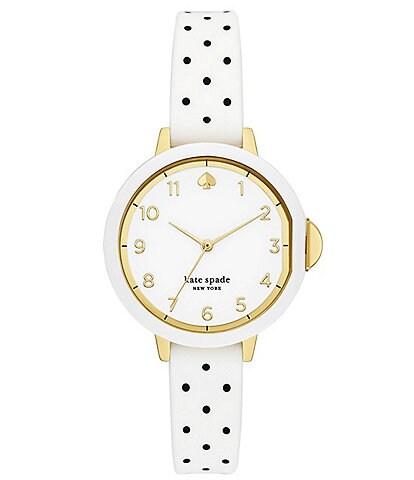 kate spade new york Park Three-Hand White and Black Polka Dot-Print Silicone Watch