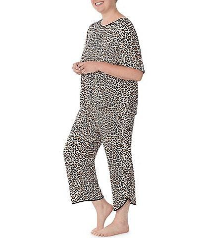 kate spade new york Plus Animal Print Jersey Cropped Round Neck Short Sleeve Coordinating Pajama Set