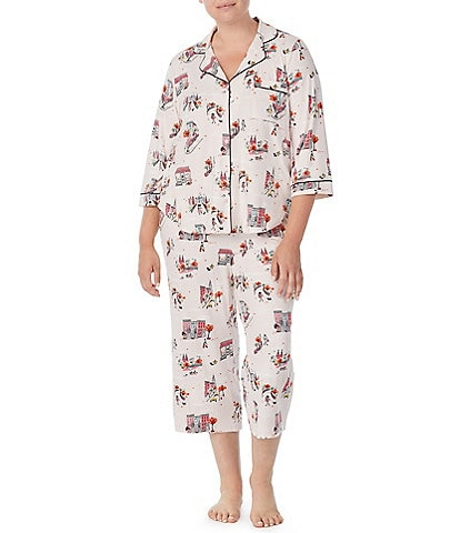 kate spade new york Plus Fall In the City Printed Jersey 3/4 Sleeve Notch Collar Cropped Pajama Set