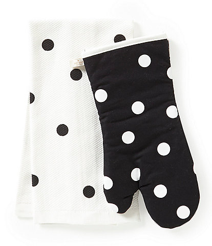 kate spade new york Polka Dot 2-Piece Kitchen Towel and Oven Mitt Set