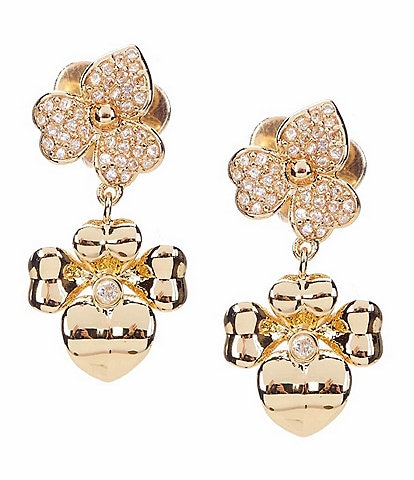 kate spade new york Precious Pansy Pave Drop Earrings