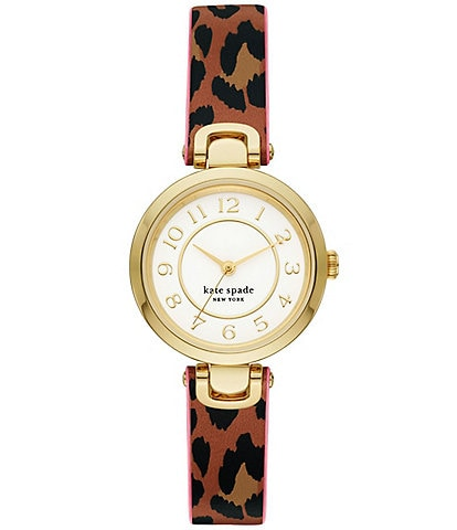 kate spade new york Rainey Park Three-Hand Leopard-Print Reversible Leather Watch