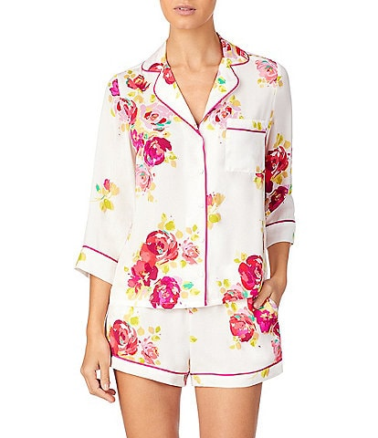 kate spade new york Rare Roses Print Charmeuse Top & Shorts Pajama Set