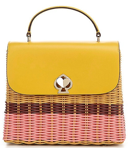kate spade new york Romy Woven Wicker Medium Top Handle Satchel Bag