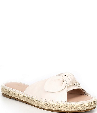 kate spade new york Saltie Shore Leather Bow Espadrille Flat Slides