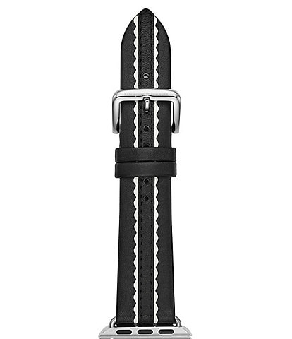 kate spade new york scallop black and white leather Apple Watch® strap