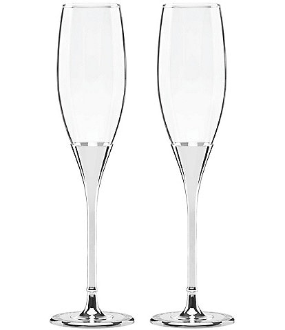 kate spade new york Simply Sparkling Silver-Plated Flute Pair