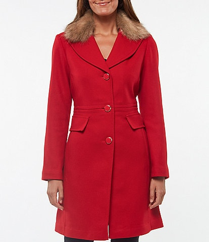 kate spade new york Single Breasted Faux Fur Collar Wool Twill Coat