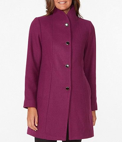 kate spade new york Single Breasted High Collar Wool Blend Twill Coat